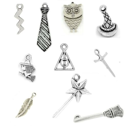 Tibetan Silver Mixed Harry Potter Theme Pendant Charms Deathly Hallows Owl Wand