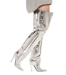 Fashion-Womens-Thigh-High-Boots-Pointed-Toe-Shoes-High-Heel-Stilettos-Plus-Size