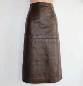Women-039-s-Vintage-High-Waist-A-Line-Brown-100-Genuine-Leather-Skirt-Size-W25-UK6