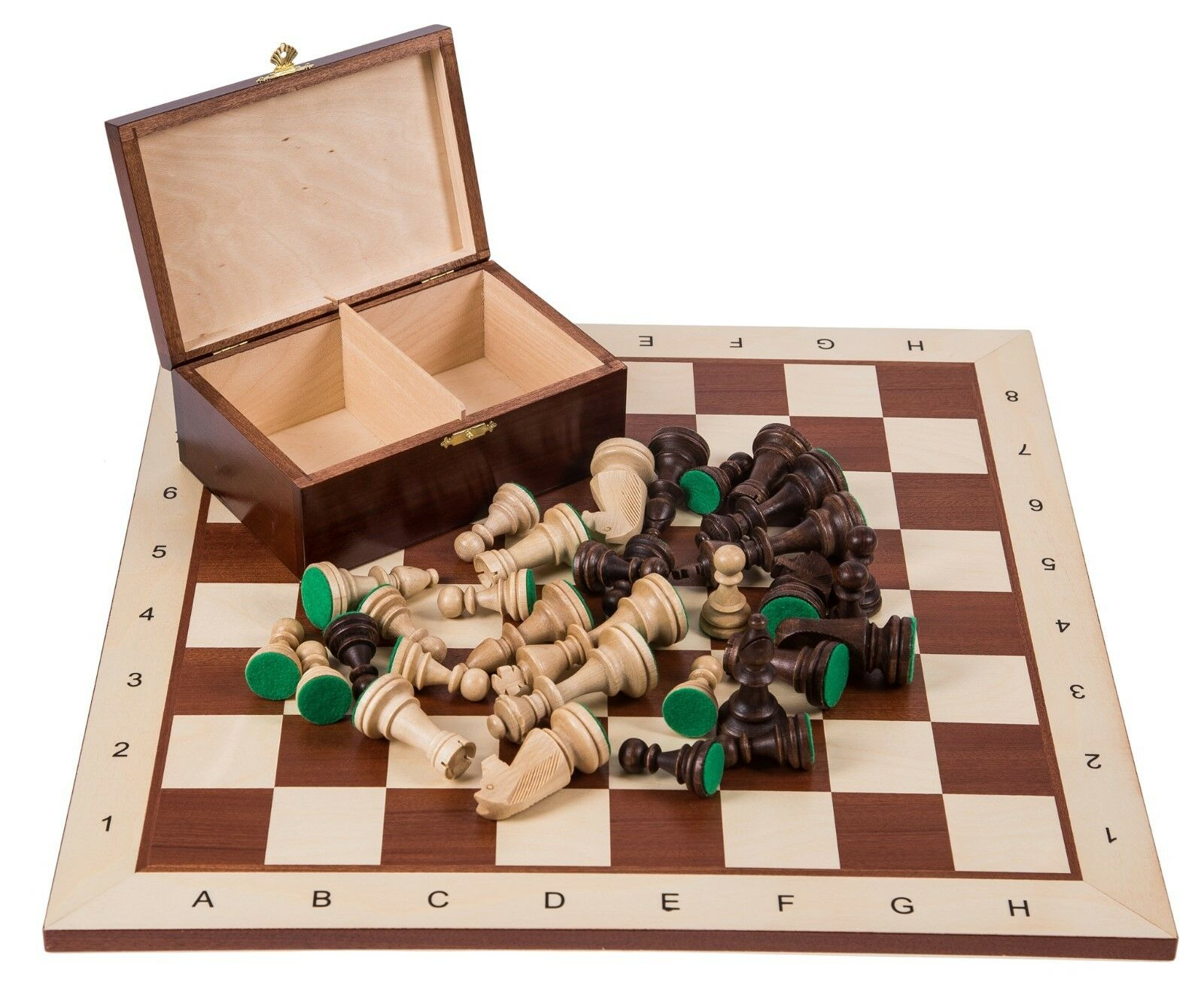 SQUARE - Pro Wooden Chess Set No. 6 - Mahogany BL - Chessboard & Chess Pieces