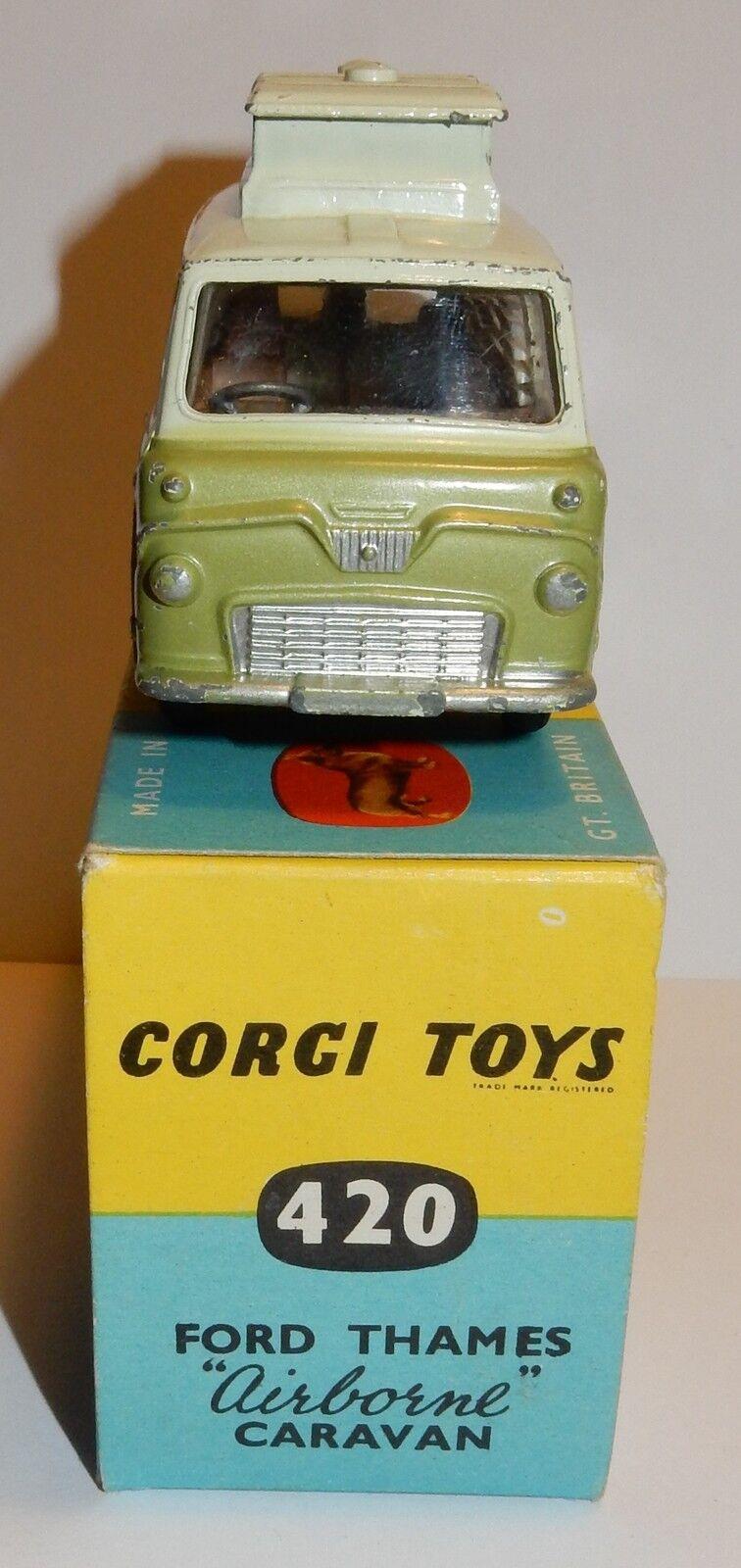 RARE CORGI TOYS THAMES FORD THAMES TOYS AIRBONE CARAVAN VERT 2 TONS 1962 1/43 REF 420 IN BOX 47f46d