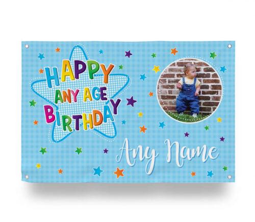 Personalised Happy Birthday Party Photo Banner Blue Stars Flag /& 4 Eyelets