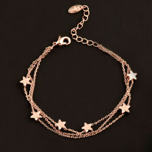 396f99e56427 Charm Star 3 Layer Chain Bracelet Bangle For Women Girl White/Rose ...
