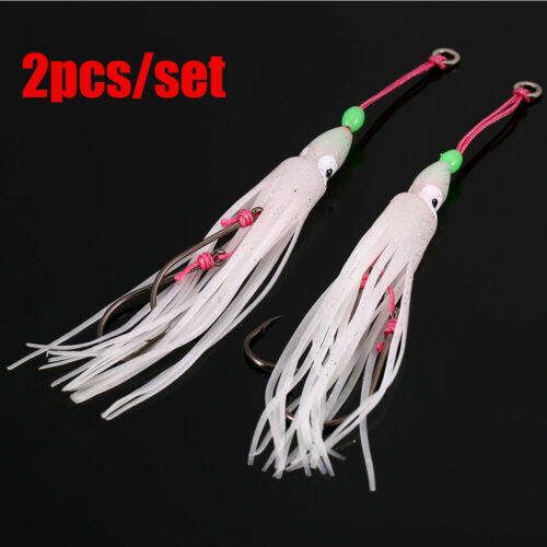 2Pcs Soft Silicone Saltwater Octopus Bait hook Squid Skirt Lure Fishing Tackle
