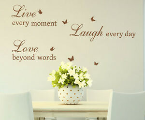 Live Love Laugh Quotes Butterflies Art Vinyl Sticker Wall Decal