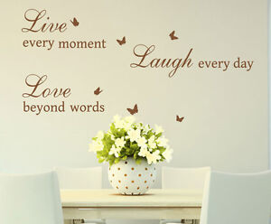 Live-Love-Laugh-Quotes-amp-Butterflies-Art-Vinyl-Sticker-Wall-Decal-HIGH-QUALITY