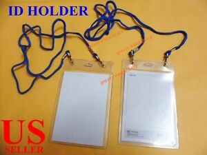 10 PCS ID Card Holder Badge Passport Card Press NameTag Pouch W// Neck Strap NEW