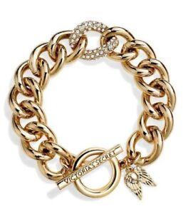 5a978406c0c50 Details about Victoria Secrets Angel Wings Charm Gold Tone Rhinestone  Bracelet W/Toggle Clasp