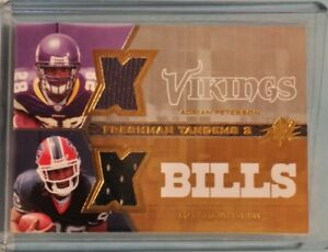 Details About Adrian Peterson Marshawn Lynch 2007 Spx Freshman Tandems Dual Jersey Rookie Card