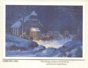 VINTAGE CHRISTMAS LOG CHURCH CHAPEL SNOW COWBOY'S HORSES BLUE JODIE BOREN CARD