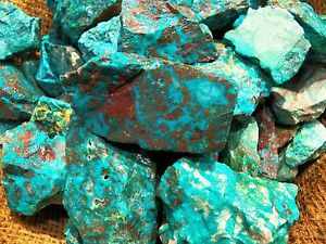3000-Carat-Lots-of-Chrysocolla-amp-Turquoise-Rough-Plus-a-FREE-Faceted-Gemstone