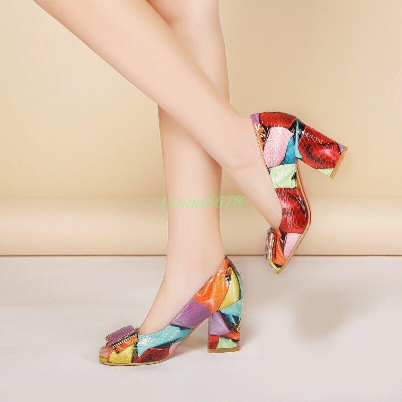 femmes Block High Heels Pumps Slip On Peep Toe Sandals Couleurful  chaussures Buckle