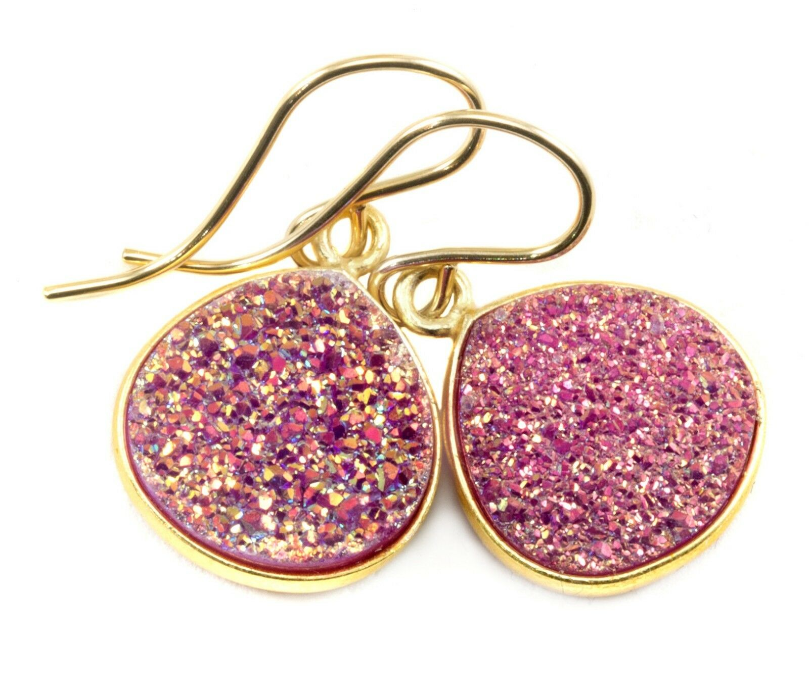 14k gold Druzy Earrings Pink Hearts Bezel Set Drusy Sterling Dangles Drops Small