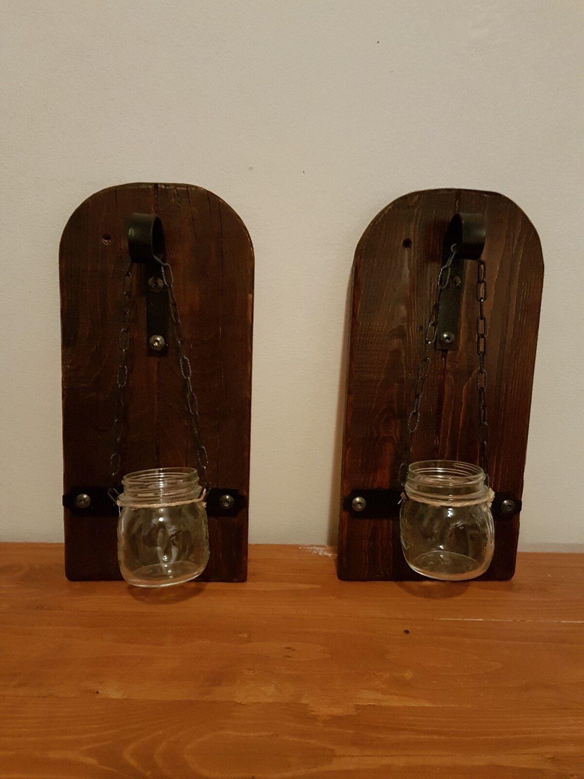 Rustic Set portacandele legno wood vintage gothic taverna vetro pallet