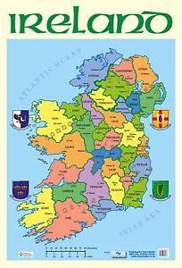 Map Of Ireland Poster.A2 Map Of Ireland Poster Educational Ebay
