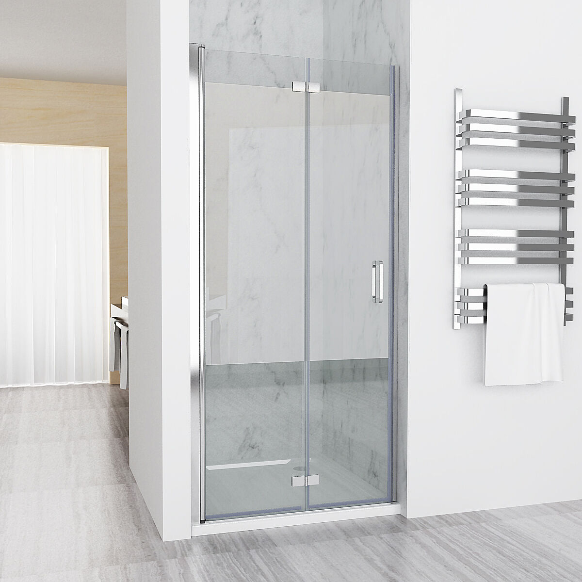 nischent r duschabtrennung duschwand dusche 180 faltt r nano esg 80 x 185 cm ebay. Black Bedroom Furniture Sets. Home Design Ideas