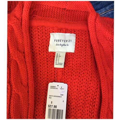 FOREVER 21 Red Chunky Mixed Knit Open Cardigan Sweater Retails $27.90