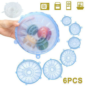6pcs-Silicone-Wraps-Seal-Bowl-Covers-Kitchen-Food-Saving-Storage-Stretch-Lids