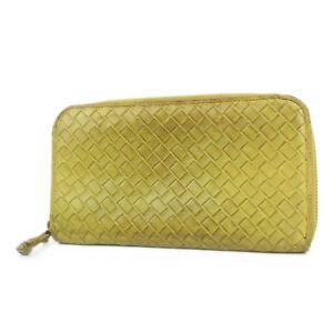 Auth-BOTTEGA-VENETA-Intrecciato-Leather-Zip-Around-Long-Wallet-Purse-F-S-1927