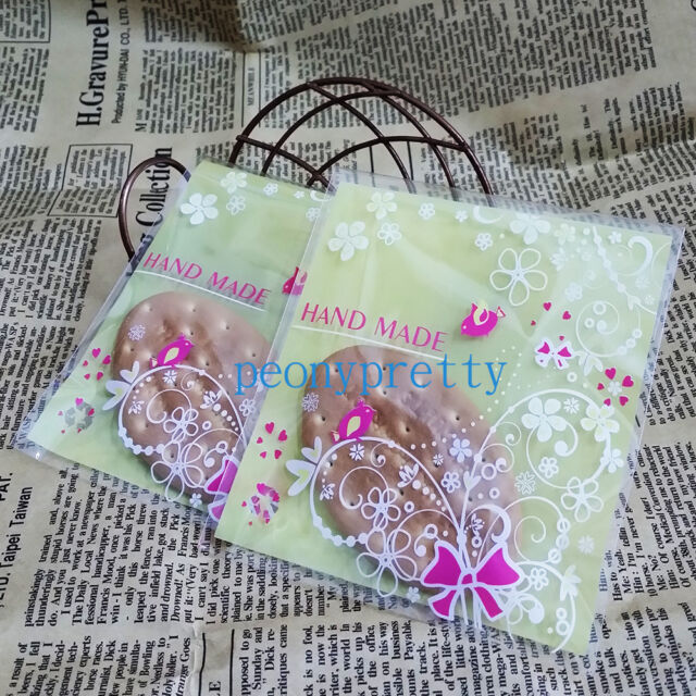 """yellow """"handmade"""" cellophane cello cookie candy treat bags peel N seal party"""