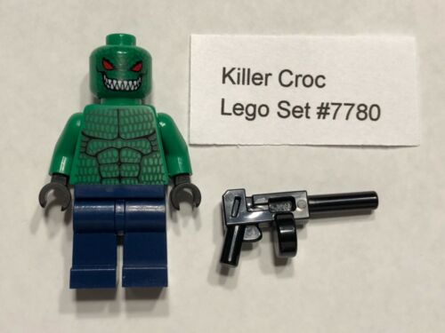 Killer Croc Authentic LEGO Minifigure w// gun Super Heroes Batman 7780 BatBoat