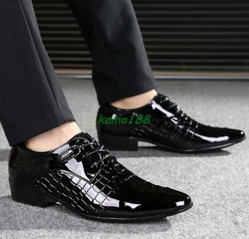 New Mens Pointed Toe Patend Leather Business Formal Dress Lace Up wedding Shoes