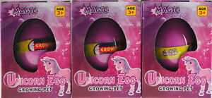 Set of 3 Grow Your Own Unicorn Hatching Novelty Eggs