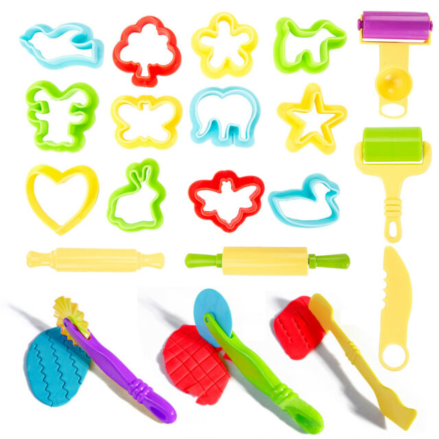 Dough Kids Tools Play Set Modelling Doh Clay Craft Rolling Pins Cookie Cutters