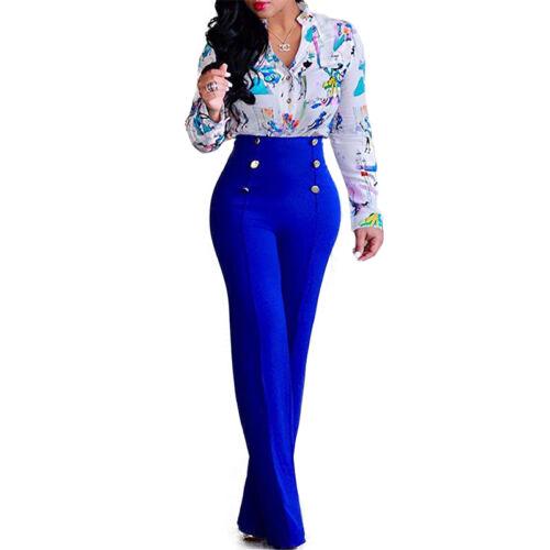 Women Palazzo Wide Leg Pants High Waist Office Career Long Flared Dress Trousers