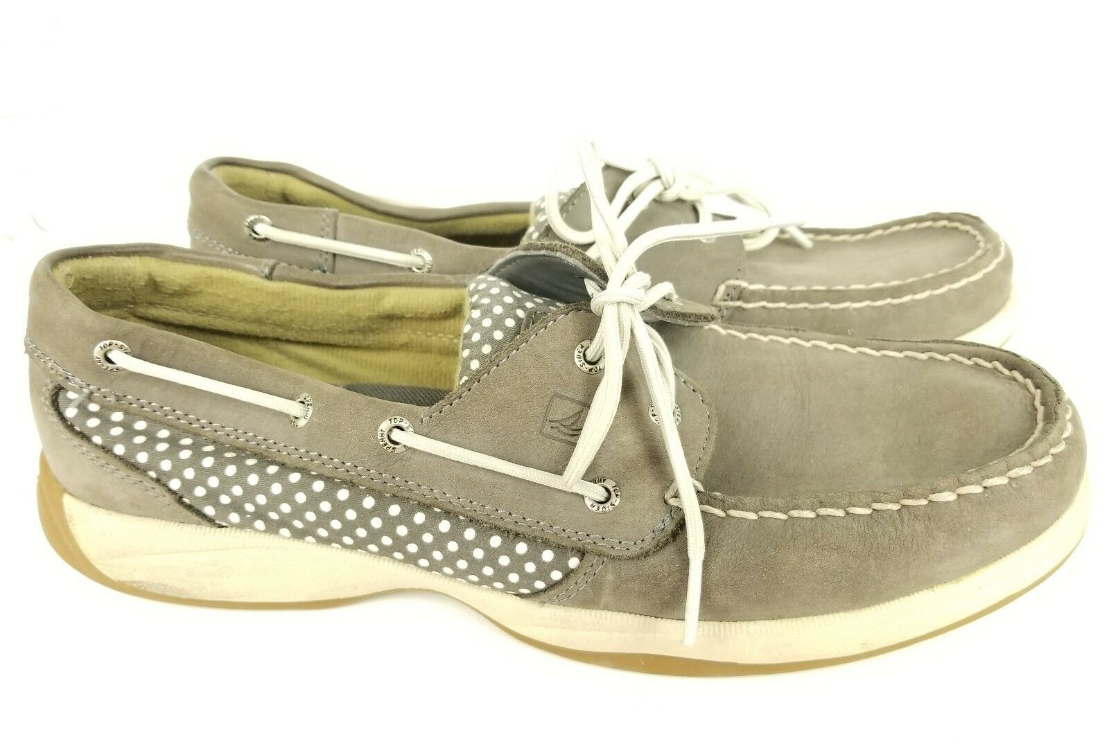 Sperry Top Sider Womens Size 11 Medium Tan Leather Polka Dot Boat shoes STS90818