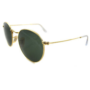 88d57abe15d2 Ray-Ban Sunglasses Round Metal 3447 001 Gold Green Small 47mm