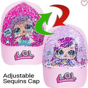 Girls-Cap-LOL-Surprise-Baseball-Reversible-Pink-Sequin-Hat-Sun-Summer