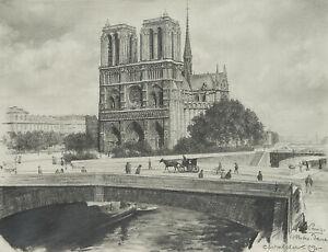 Carl-WALTHER-1880-1956-Notre-Dame-de-Paris-1909-Bleistiftzeichnung