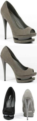 Gray Faux Suede Open Toe Triple Platform High Stiletto Heel Pump Styluxe