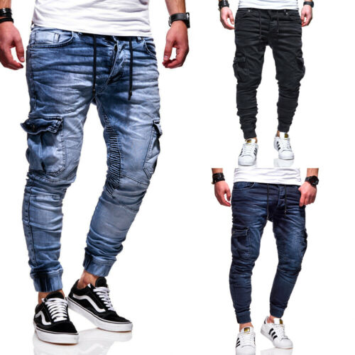 BEHYPE Jeans Herren Jogger Biker Röhrenjeans Slim Fit Chino Hose Dunkelblau NEU