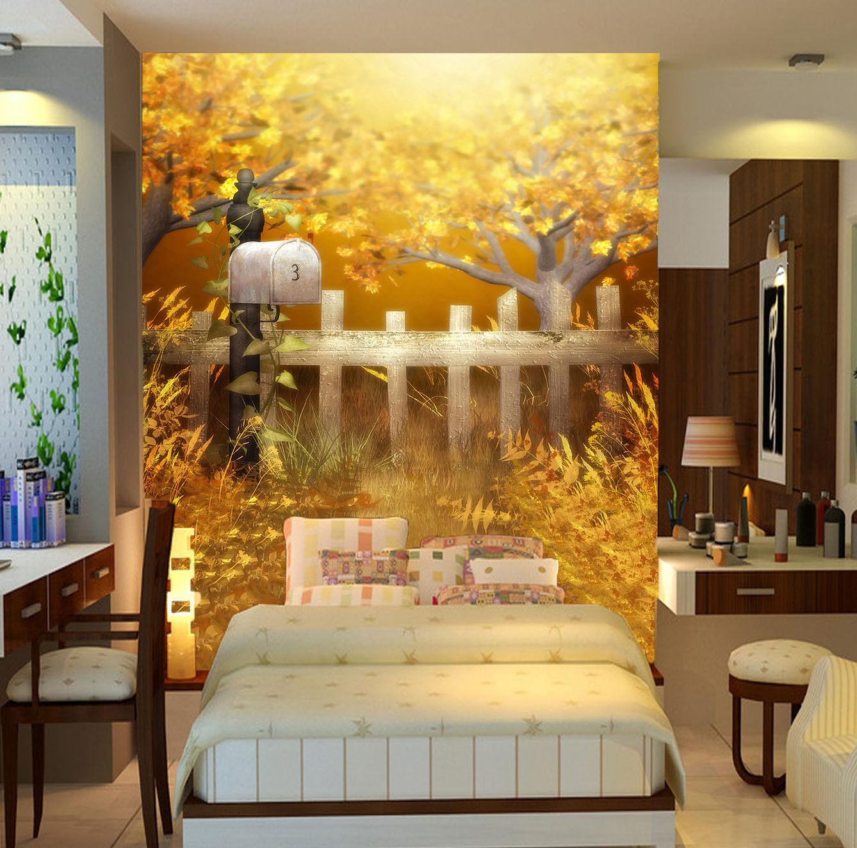 3D Zaun Goldener Baum 9 Tapete Wandgemälde Tapete Tapeten Bild Familie DE Summer   Sehen Sie die Welt aus der Perspektive des Kindes    Kostengünstiger    Attraktive Mode