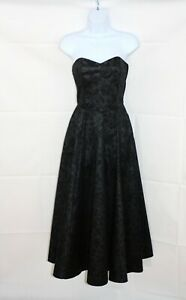 LAURA-ASHLEY-Black-Vintage-Inspired-Special-Occasion-Evening-Midi-Ballgown-Uk-12