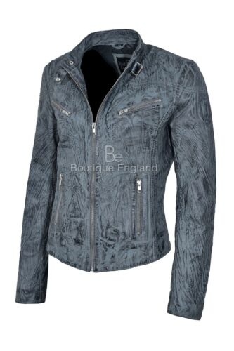 Biker 100 Style Jacket Leather 01 Grey Sr Real Ladies Wrinkled awSIaU