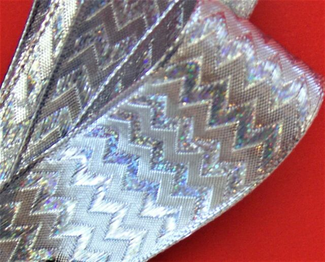 """2-Yds,1.5"""" SPARKLE SILVER IRRIDECENT METALLIC textured design Wire Edge Ribbon"""