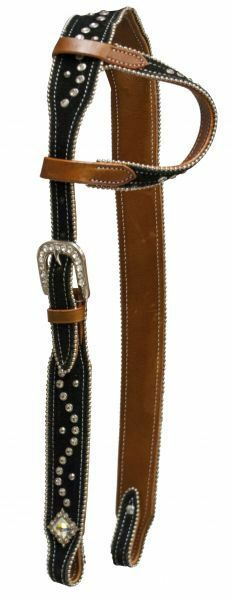 Showman ® One Ear Belt Headstall With Suede Overlay and Crystal Rhinestone Stud