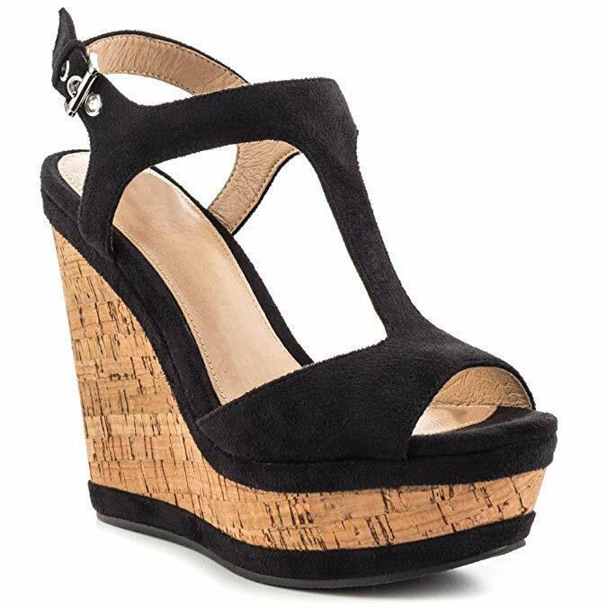 Femme compensées T Sandales Bout Ouvert Talons Hauts Casual Roma Chaussures Taille
