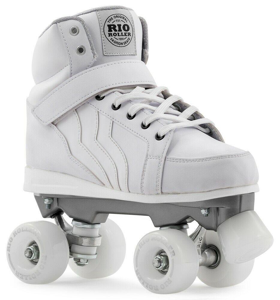 Rio roller Kicks BambiniAdulti Quad  Pattini a rossoelle  Bianco