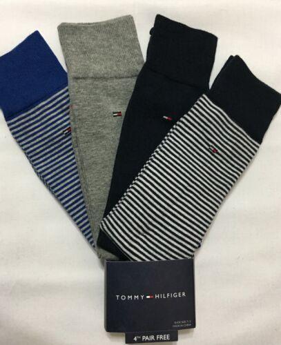2586 Tommy Hilfiger 4-Pair Casual-Dress Socks  Blues//Gray//Striped  2816