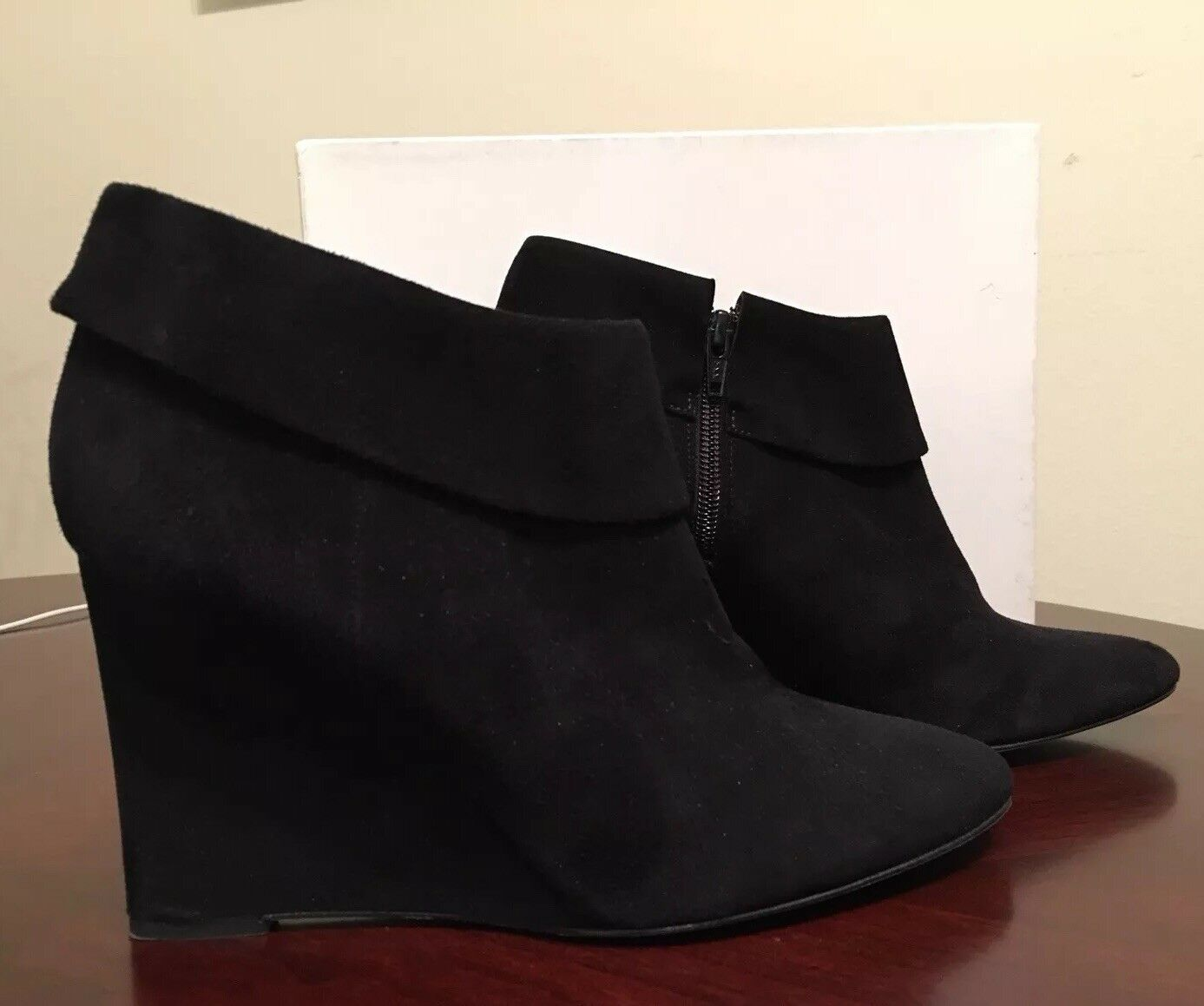 Saks fifth avenue ankle boots wedge suede schwarz 9 B   nice