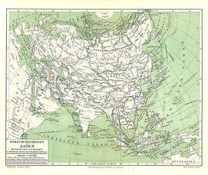 Alte Landkarte 1896 Forschungsreisen In Asien Mittelalter Und