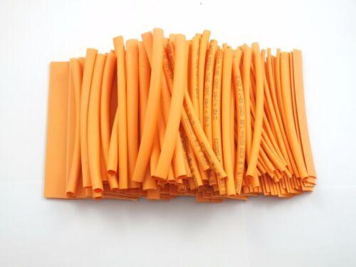 """135PCS Pro-kit 4/"""" shrinkable ratio 2:1 Heat Shrink Tubing Sleeve 7 Sizes Orange"""