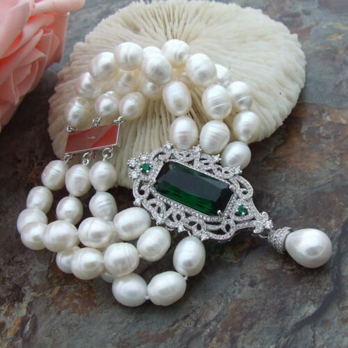 """GE032611 8/"""" riz blanc perle Bracelet Zircone Cubique Connecteur"""