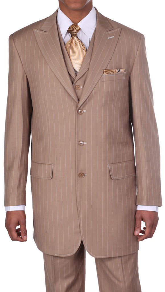 Men's 3 pcs Wool Feel Classic Gangster Pinstripe Suits with Vest 5903 Tan