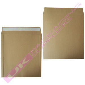 """125 x LARGE BROWN 12"""" RECORD VINYL SELF SEAL BOARD MAILERS + FREE FRAGILE LABELS"""