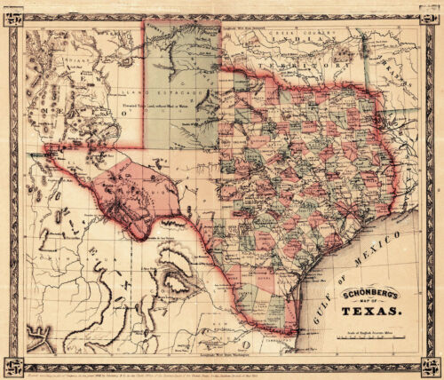 1866 Schönberg/'s Map of Texas Schonberg Historic State Map Texan Print Wall Art
